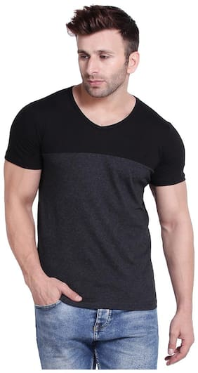 WEFT Men Black & Grey Regular fit Cotton V neck T-Shirt - Pack Of 1