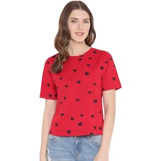 WEFT Women Printed Regular top - Red