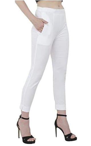 amp; Pants Wekay Semi Trouser Formal Cotton Womens White 1HF8q