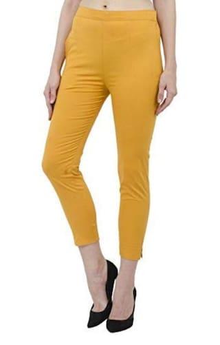 Yellow Pants Womens Regular amp; Cotton Trouser Wekay Pzw45pq