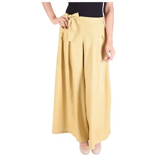 Wemenz Flared Box Pleats Palazzo