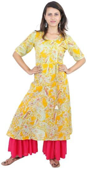 WENZEL Women Cotton Floral Straight Kurta - Yellow