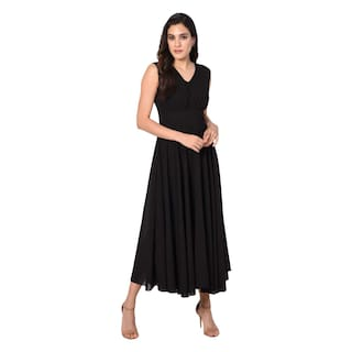 Dress V Black Neck Long Westchic 7qfp6wxcAc
