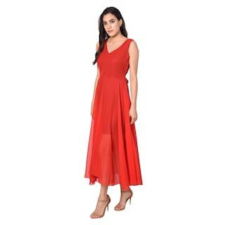 Westchic Red V-Neck (Belt) Long Dress