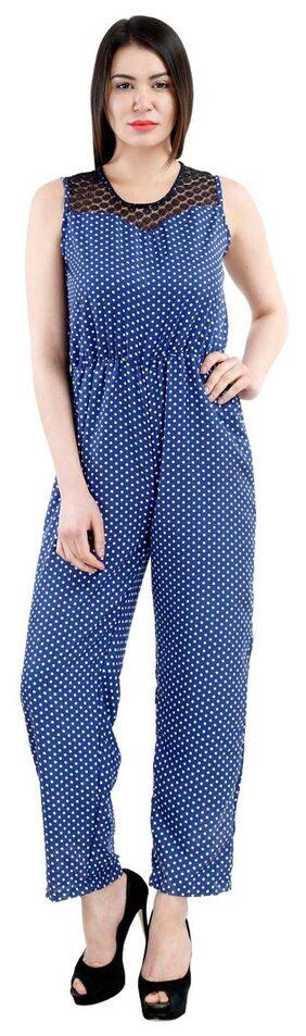 Westrobe Womens Navy Blue Polka Dot Printed Jumpsuit
