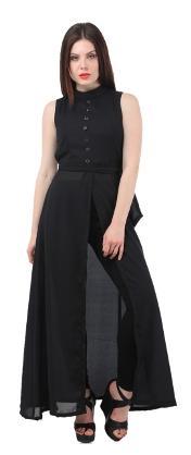 Westrobe Womens Black Front Slit Maxi Dress