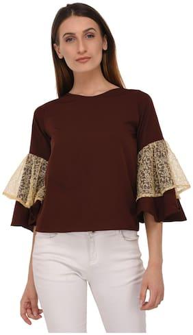 Westrobe Women Cotton Solid - A-line top Brown