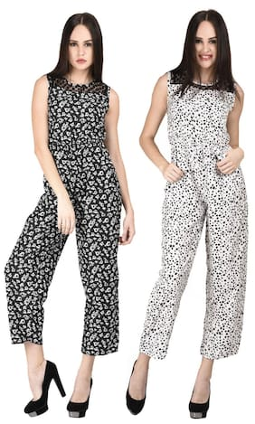 Westrobe Womens Black Floral And White Tiger Printed Jumpsuit Combo