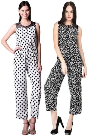 Westrobe Womens White Polka Dot Printed And Black Floral Printed Jumpsuit Combo