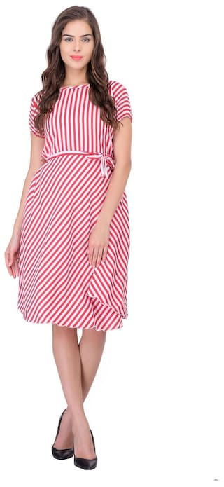 Midi Women Crepe Strip Dress White Westrobe Printed Pink CFqwpYp