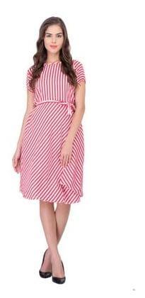 2614365215c8 Westrobe Women Pink White Strip Printed Crepe Midi Dress