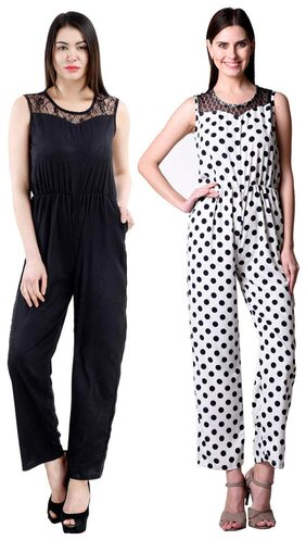 Westrobe Womens Black Plain And White Polka Dot Printed Jumpsuit Combo