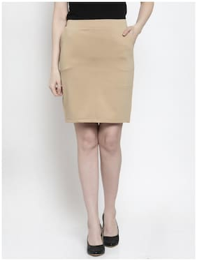 Westwood Solid Straight skirt Mini Skirt - Beige