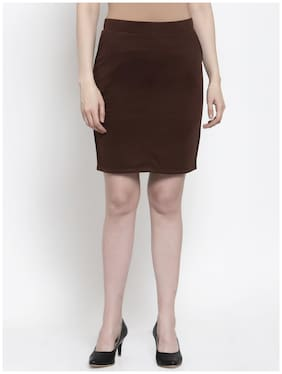 Westwood Solid Straight skirt Mini Skirt - Brown