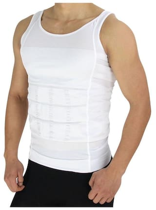 3e63e0214b681 Whinsy White Lycra Tummy Tucker Slimming Vest Sauna Body Shaper Tummy Waist  Magic Compression Muscle Shirt