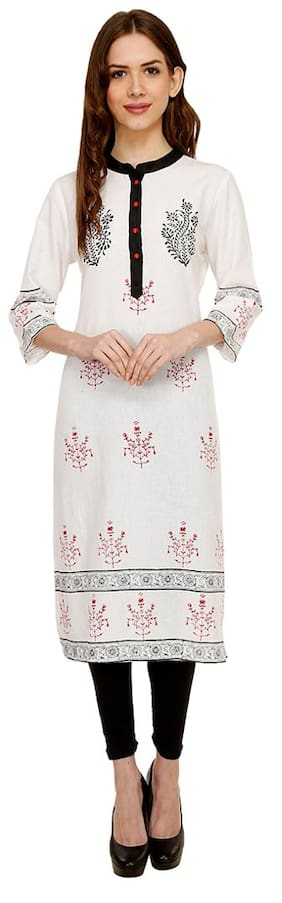 Luxury Living White Block Print Kurti