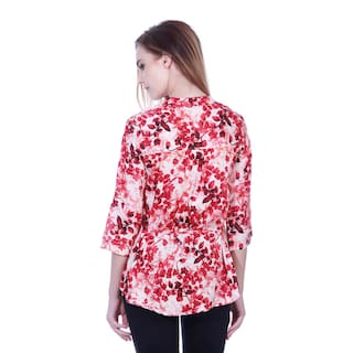 red tunic shirt leaves print Botanical White 5SEIqwxXc