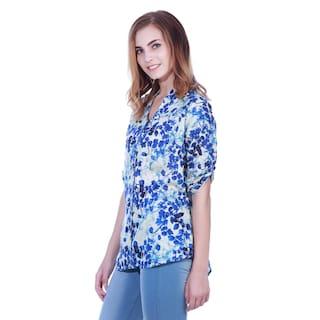 leaves Blue tunic Botanical shirt White print E1c7Rfaq