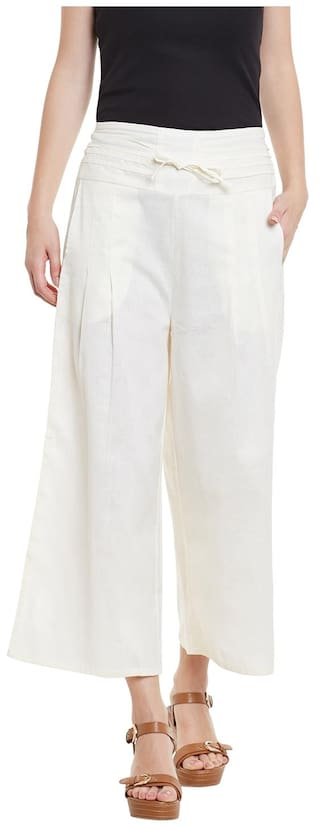 Trousers White Cotton Cotton Solid White Palazzo YT7qHR