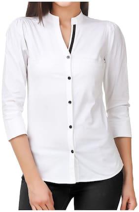 FAIRIANO Women White Solid Slim Fit Shirt