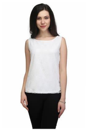 40a469ea016fb Eavan Women Lace Solid - Regular Top White