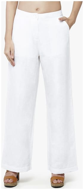AND White Linen Straight Pants