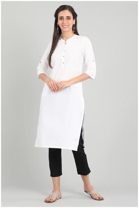 Aurelia Women Cotton Solid Straight Kurta - White