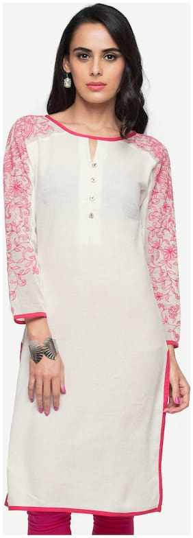 Women Embroidered Straight Kurti