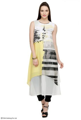W Women Blended Printed Straight Kurta - Black