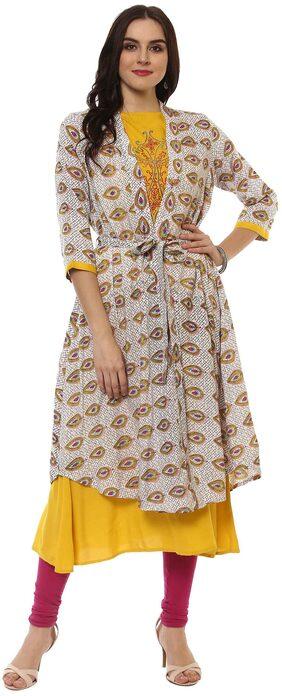 La Firangi Women Cotton Solid Straight Kurta - Multi