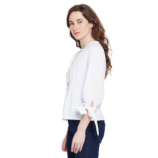shirt White Tied Tied up sleeve up sleeve White 8wn0OBq