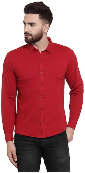 Wild West Men Red Solid Regular Fit Casual Shirt