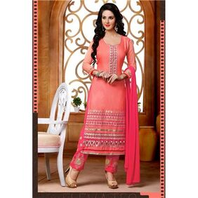 Win Fashion Pink Cotton Embroidred Salwar Suit