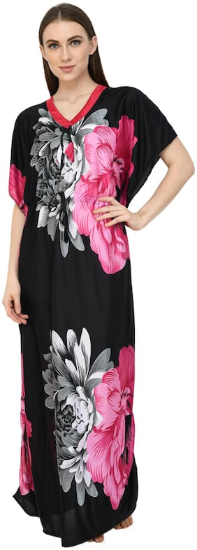 Winsome Deal Women Satin Floral Half Sleeves Swimwear And Beachwear Kaftan (Multi)