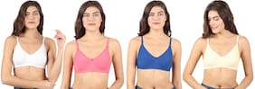 Winsure Women Full Coverage Cotton Everyday Non Padded Bra (Multicolor; Set Of 4)