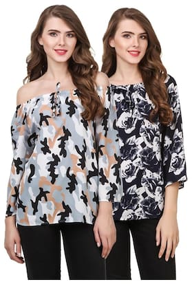Delux Look Women Embroidered Regular top - Multi