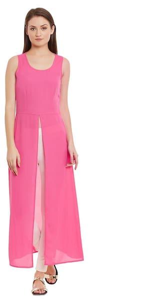 Wisstler Magenta Sleeveless Poly Moss Dress