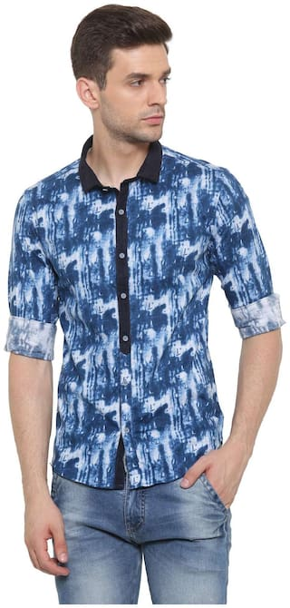 WITH Men Blue Printed Slim Fit Casual Shirt
