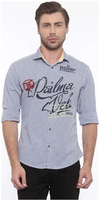 WITH Men Blue Checked Slim Fit Casual Shirt