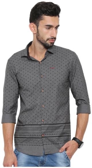 WITH Men Grey Printed Slim Fit Casual Shirt