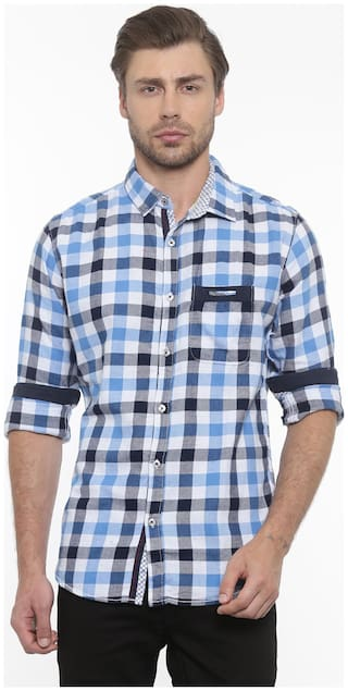 WITH Men Multi Checked Slim Fit Casual Shirt