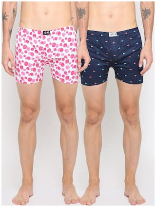 WITH Men Printed Boxer - Multi , Set Of 2