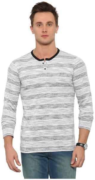 WITH Men White Slim fit Cotton Henley neck T-Shirt - Pack Of 1