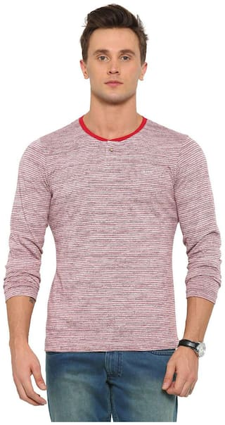 WITH Men Red Slim fit Cotton Henley neck T-Shirt - Pack Of 1