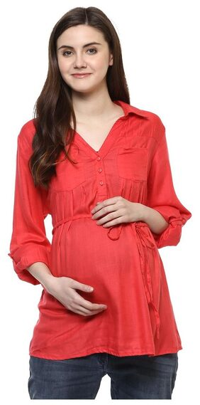 Wobbly Walk Women's V-Neck, Full Sleeves, Maternity Top, Pink (XX-Large)