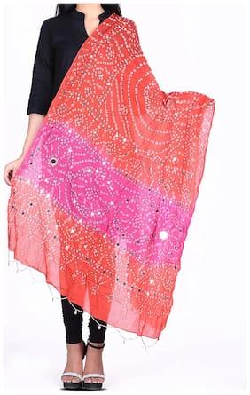 Woman Cottont Bandhani dupatta with mirror work