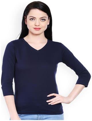 Women 3/4 Sleeve Cotton Knitted T-Shirt