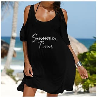 Off Shoulder BK Letters Femme Printed Dress Dress Summer Women S Robe Beach qtEZWH