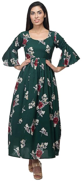 O Madam Crepe Floral Maxi dress Green