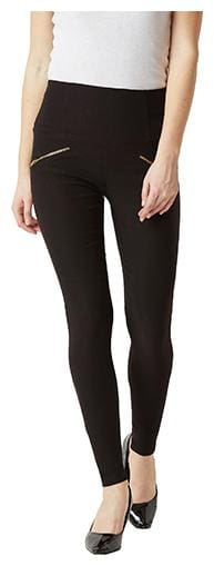 Miss Chase Women Slim Fit High Rise Solid Jegging - Black